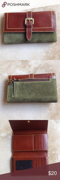 Italian leather wallet Beautiful suede and leather wallet from Italy. Measures 7  by 4 1/4 . This is new without tickets. High quality craftsmanship. Check, coin, and credit card compartments. Brass buckle accents. Mipelle Accessories Key & Card Holders