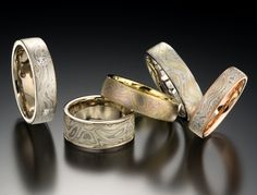 Mokume-gane is a Japanese technique developed several centuries ago, of layering… Damascus Ring, Damascus Steel, Engagement Ring For Him, Japanese Wedding, Gold Band Ring, Love Ring, Wedding Bands, Jewelery, Creations