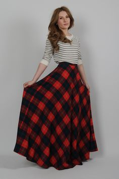 DRESS vintage 70s plaid WOOL high waisted ULTRA FULL maxi Skirt XS tartan dress long