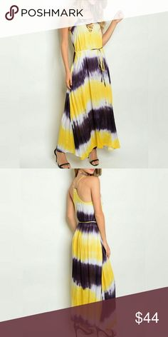 💝Summer sexy BOHO lace up tie dye maxi dress! 💝Boutique sexy BOHO lace up on trend tie dye maxi dress! This is a trendy relaxed fit maxi dress. Yellow charcoal and white. Great for an outdoor party or just running errands! 100% rayon. Spaghetti straps. Cross yolk. Racerback. Removable tie belt. boutique Dresses Maxi