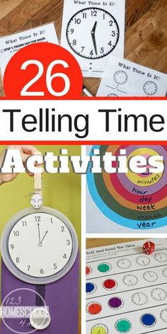 26 Telling Time Games and Activities - so many fun hands on activities telling time games free clock worksheets and more for kindergarten first grade grade grade (math homeschool math centers) Telling Time Games, Telling Time Activities, 2nd Grade Activities, Teaching Time, 3rd Grade Math, Teaching Math, Second Grade, Telling Time For Kids, First Grade Games
