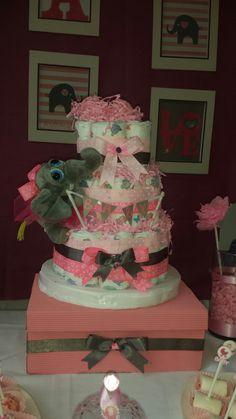 Diaper cake- Elephant baby shower