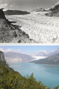 20 Startling Pics To Show Anyone Who Doesn't Think Climate Change Is Real #refinery29  http://www.refinery29.com/20-photos-climate-change-real-photographs#slide-19  Temperature IncreaseTop: 1941, Bottom: 2004In these two images of Muir Glacier, Alaska, what was once a solid sheet of ice that filled an entire valley is now a lake. The rate of temperature increase in Alaska is twice the national rate of increase.