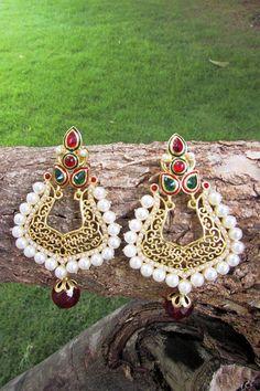 Beautiful Pearl & Polki Earring