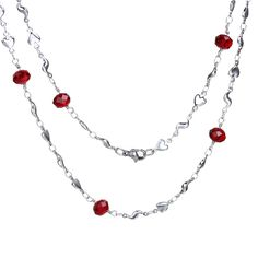 """304 Stainless Steel Link Chain Necklace S-shape Heart Silver Tone Wine Red 51.5cm(20 2/8"""") long - 50cm(19 5/8"""") long, 1 Piece"""