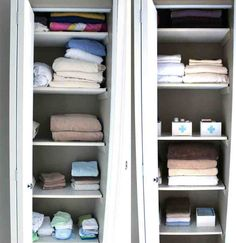 Depiction of Awesome Linen Closet Organizers Linen Closet Organization, Closet Storage, Locker Storage, Organization Ideas, Storage Boxes, Kitchen Storage, Closet Hacks, Ikea Closet, Closet Ideas