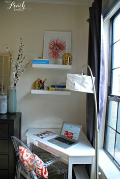 How to Style a Corner Office - The Peach Bellini. Target Desk and Floating Shelves, Lulu and Georgia Wall Art, Lucite desk accessories from Amazon. Corner Office, Corner Desk, Desk Shelves, Floating Shelves, Lucite Desk, Peach Bellini, Desk Ideas, Desk Accessories