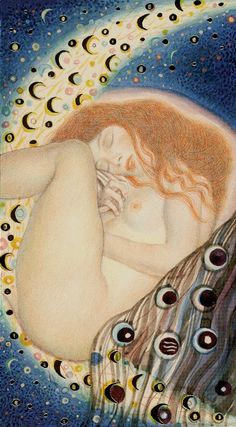 The Moon - Golden Tarot of Klimt %%%%()()()()....http://www.pinterest.com/vintagebelle76/fortune-telling/