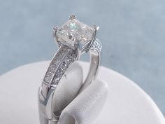 1.92 ctw Princess Cut Diamond Engagement Ring I VS2. For sale for $4,990 on our website www.bigdiamondsusa.com or call us at 1-877-795-1101 for more information.
