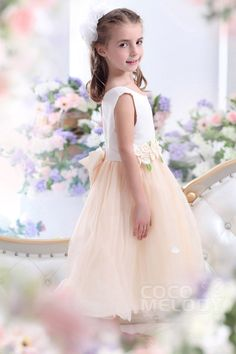 Cute A-Line Tank Top Ankle Length Tulle Champagne Flower Girl Dress #CKZI13006 #cocomelody #flowergirldress