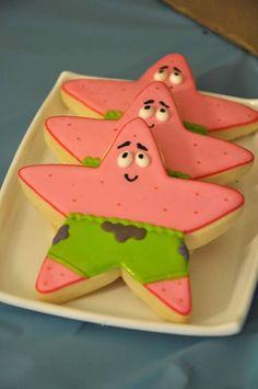 Sponge Bob Birthday Party - Patrick cookies by Sweet Tweets Online - ] The Pink Peach Spongebob Birthday Party, Baby 1st Birthday, Birthday Stuff, Birthday Parties, Birthday Cake, Birthday Ideas, Cupcake Cookies, Fondant Cookies, Star Cookies