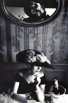 Dovima in a hat and dress by Christian Dior, Spring 1956. Photo: Henry Clarke.