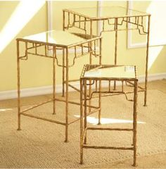 Bamboo Tables.  Super cute.  Set of three!  $685  http://www.wellappointedhouse.com/Products/146819-the-well-appointed-house-set-of-three-bamboo-mirror-tables.aspx