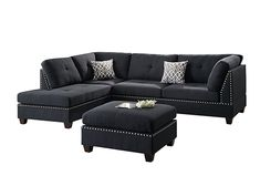 Poundex Bobkona Viola Linen-Like Polyfabric Left or Right Hand Chaise Sectional Set with Ottoman (Pack of Black Product Features Seat Cushion Filled Black Sectional, Black Couches, 3 Piece Sectional, Living Room Sectional, Black Sofa, Dining Sofa, Small Sectional, Small Sofa, Sectional Sofas