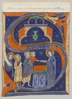 Initial S with the Presentation of Christ in the Temple, ca. 1278 From an antiphonary created for the Cathedral of Imola Master of Bagnacavallo Italian (Imola)