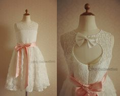 Ivory Rosette Lace Flower Girl Dress Keyhole Back for by deepado, $46.99..this is gorgeous!