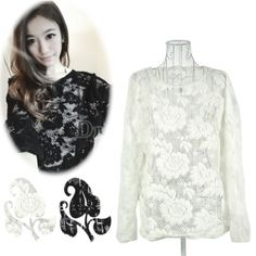 Women's Solid Hollow-out Lace Loose Casual Long Sleeves Tee Tops T-shirt 2Colors - $4.15 USD