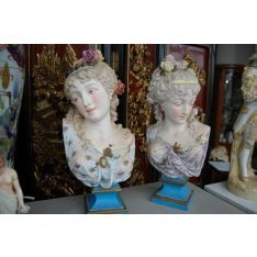 Paul Duboy - pair of antique Paris Porcelain busts of young females in period dress, the hair worn plaited on the head and ornamented with flowers, each standing on blue tinted square bases, 53 cm high each both signed Paul Duboy Young Female, Porcelain Ceramics, Period, Objects, Auction, Sculpture, Statue, Antiques, Flowers