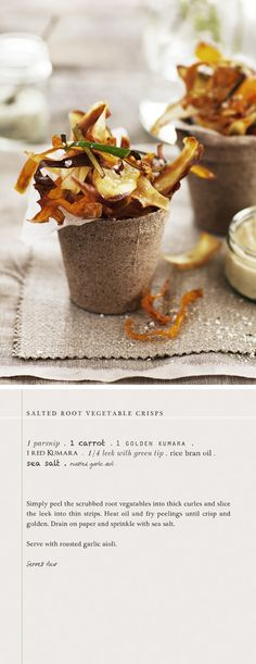 Salted root vegetable crisps. Style etc.: Lunch with Friends