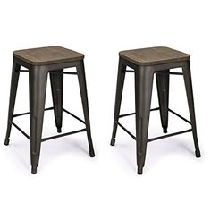 Adeco 24 Metal Counter Stools, Vintage Wood Seat Top Chair, Black Bronze (Set of Two), Brown Metal Counter Stools, Metal Stool, 24 Bar Stools, Wooden Stools, Bar Counter, Home Bar Furniture, Restaurant Furniture, Dining Furniture, Buffets Furniture