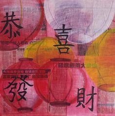 Modern Schilderij Gelukkig Nieuwjaar 60x60x2