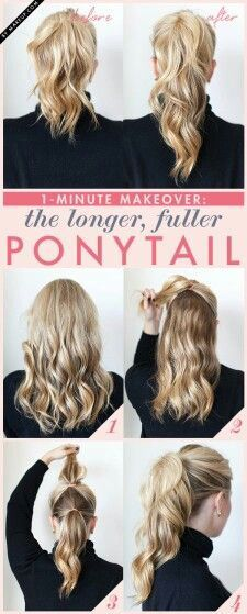 Fake a fuller ponytail by doing the double-ponytail trick. Fake a fuller ponytail by doing the double-ponytail trick. - Fake a fuller ponytail by doing the double-ponytail trick. Five Minute Hairstyles, Quick Hairstyles, Ponytail Hairstyles, Straight Hairstyles, Bangs Updo, Stylish Hairstyles, Fashion Hairstyles, Retro Hairstyles, Wedding Hairstyles