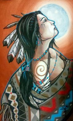 ✯ Native Woman Moon Maiden :: Artist Anji Marth ✯