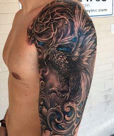 No photo description available. - More Tattoos? - No photo description available. – More Tattoos? Phoenix Tattoo Sleeve, Phoenix Tattoo Men, Phoenix Tattoo Design, Arm Sleeve Tattoos, Tattoo Sleeve Designs, Forarm Tattoos, Eagle Tattoos, Body Art Tattoos, Ink Tattoos