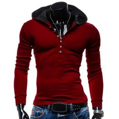Stylish Hooded Simple Solid Color Buttons Design Slimming Long Sleeve Polyester Hoodie For Men-13.03 and Free Shipping| GearBest.com