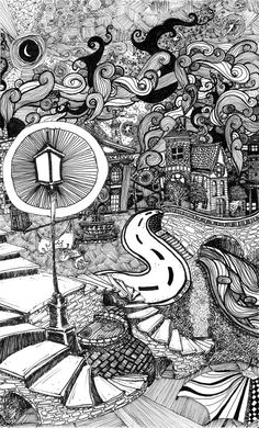 Stairs Under Lamplight has a lot of detail and architectural techniques. A friend suggested slipping a Tardis into the illustration (from Dr. Used various concepts of art, from media art to zentangle. Small piece of work great Art Inspo, Kunst Inspo, Inspiration Art, Dibujos Zentangle Art, Zentangle Drawings, Art And Illustration, Ink Illustrations, Ink Pen Art, Ink Pen Drawings