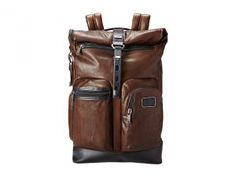 Tumi Alpha Bravo Luke Leather Roll-Top Backpack (Dark Brown) Backpack Bags
