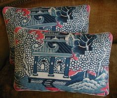 Lee Jofa Linen Fabric Custom Designer Throw Pillows Chinoiserie Willow Blue New Set of 2