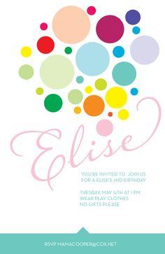 Birthday Invitation design idea. Rainbow balloon dots.