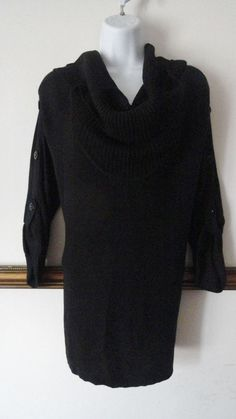 Kenneth Cole Black Cowl Neck Button Sweater Longer Blouse Tunic Shirt Small S #KennethCole #Tunic