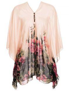 5c1d4e88257 women tops blouses floral print 3 4 sleeve v neck buttons design women .