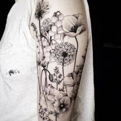 35 Amazingly Pretty Flower Tattoos That Are Perfect For The Spring & Summer - tattoo flowers & nature - Full Sleeve Tattoos, Sleeve Tattoos For Women, Tattoo Sleeve Designs, Tattoo Designs For Women, Tattoos For Guys, Woman Tattoo Sleeves, Nature Tattoo Sleeve Women, Tattoos Pics, Tattoos Gallery
