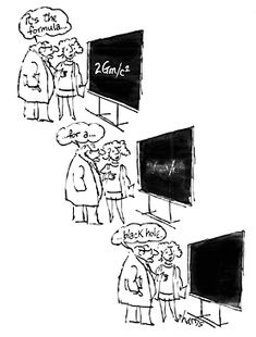The formula for a black hole. Cartoon by S. Harris from: Science Cartoons Plus -- The Cartoons of S. Harris