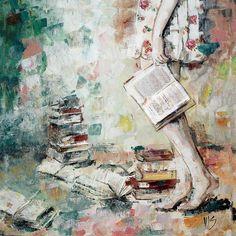 Obrazy - Som nepopísaná kniha. 60x60, reprodukcia - 6395530_ Artwork, Painting, Flowers, Work Of Art, Painting Art, Paintings, Painted Canvas