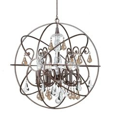 "View the Crystorama Lighting Group 9028-GS-MWP Solaris 6 Light 28"" Wide Wrought Iron Globe Chandelier with Golden Shadow Hand Cut Crystal at LightingDirect.com. Stairwell"