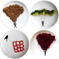 The idea of playing with your food takes on a whole new meaning with these food plates by Boguslaw Sliwinski, he has lots of other great ones on his site too
