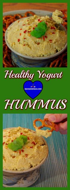 Make this healthy yogurt hummus in 10 minutes! Serve with pretzels rounds or crackers or veggies for the perfect snack or appetizer;