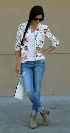 Casual Fall Outfits That Will Make You Look Cool – Fashion, Home decorating Bomber Jacket Outfit, Floral Bomber Jacket, Boho Fashion, Fashion Outfits, Womens Fashion, Street Fashion, Floral Fashion, Cool Outfits, Casual Outfits