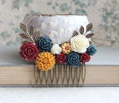 Autumn Bridal Hair Comb Fall Wedding Navy Blue by apocketofposies