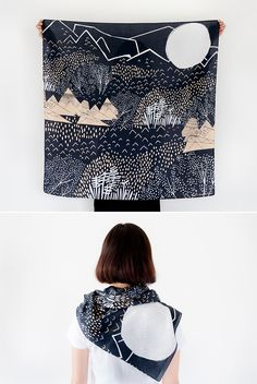 Mountain Blossom Midnight Blue Furoshiki from The Link Collective // jojotastic.com