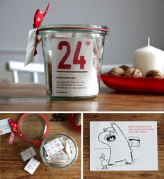 advent calendar in a jar