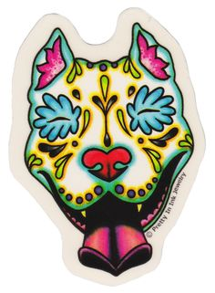 PRETTY IN INK DAY OF THE DEAD SLOBBERING PIT BULL STICKER $3.00 #prettyinink…