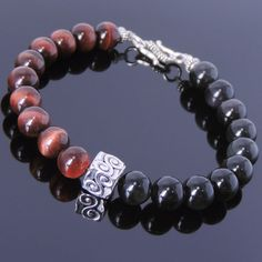Men/Women Bracelet Black Obsidian Red Tiger Eye S925 Sterling Silver Bead Clasp #DIYKAREN #MenWomenGEMStoneSterlingSilverBracelet