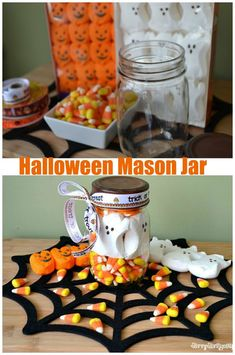 Halloween Peeps Mason Jar Craft. Create an easy layered effect with Peeps and Candy Corns. Perfect Halloween centerpiece or decoration.