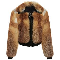 A.L.C.     Boyce Fox Fur Jacket (16.030 DKK) ❤ liked on Polyvore featuring outerwear, jackets, brown, collar jacket, fox fur jacket and brown jacket