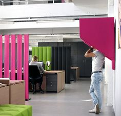 Buzzispaces are all about personal space, privacy, and intimacy. The wall-mounted BuzziHood pictured here offers a quick escape from the surrounding cacophony of distractions so you can have a moment of peace for a phone call or just a quick breather.